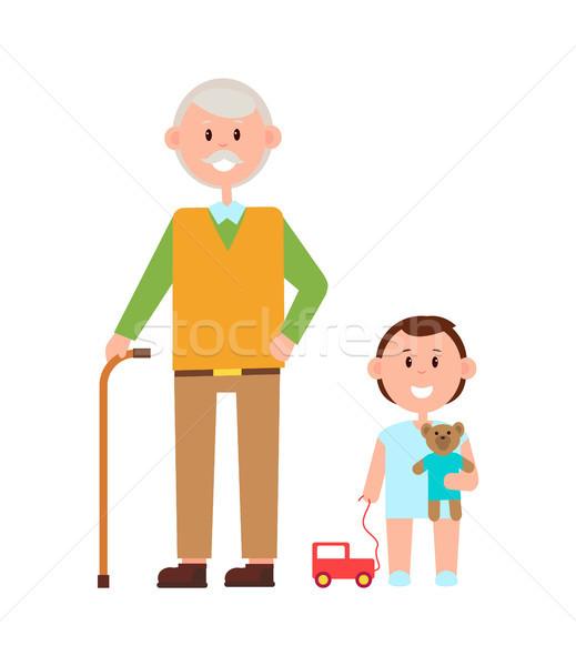 Nagyapa unoka szalag ősz haj tart bot Stock fotó © robuart