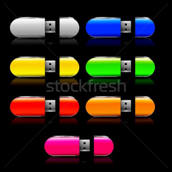 Usb flash drive zestaw technologii czarny sklepu Zdjęcia stock © robuart