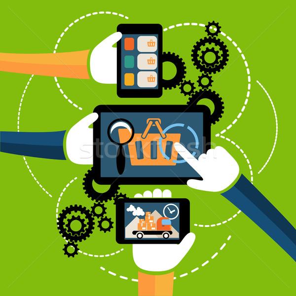 Internetes vásárlás folyamat házhozszállítás üzlet online vásár Stock fotó © robuart