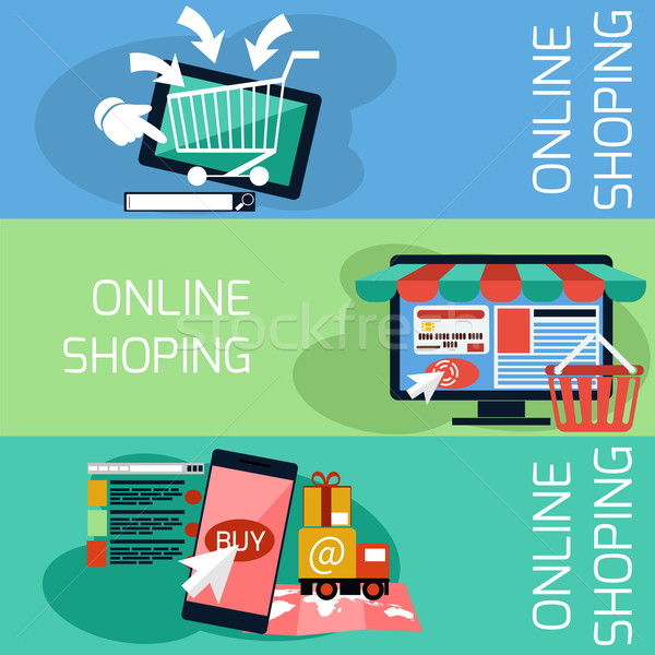 Internet shopping concept monitor with awning Stock photo © robuart