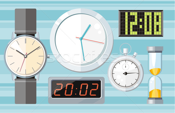 Set of colorful clocks icons Stock photo © robuart