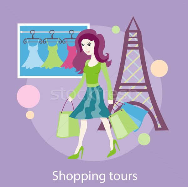 Beautiful woman with a lot of shopping bags Stock photo © robuart