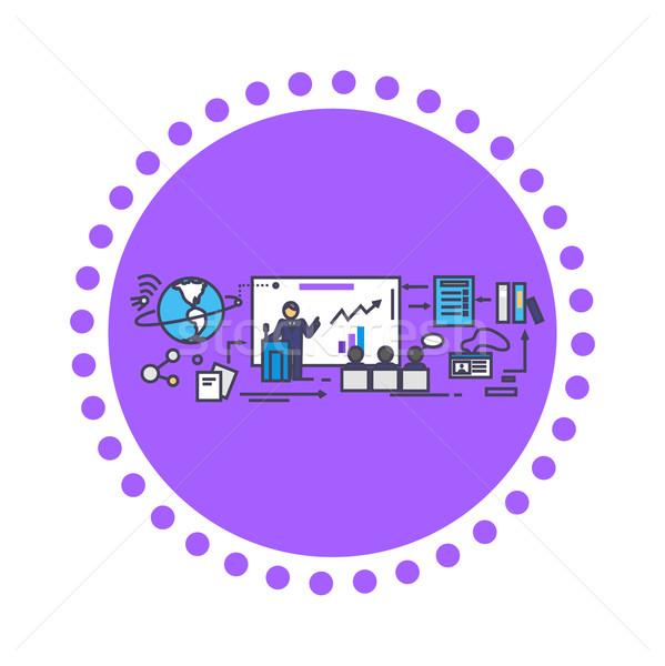 Business Training Icon Flat Design Stock photo © robuart