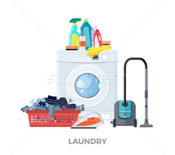 Lavanderia lavatrice vuoto cestino di lavanderia lavaggio servizio Foto d'archivio © robuart