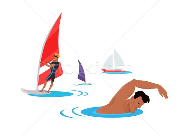 Natação windsurf costa ilustração verão diversão Foto stock © robuart