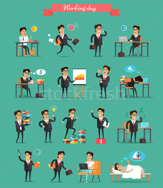 Working Day in Office Characters Vector Set. Stock photo © robuart