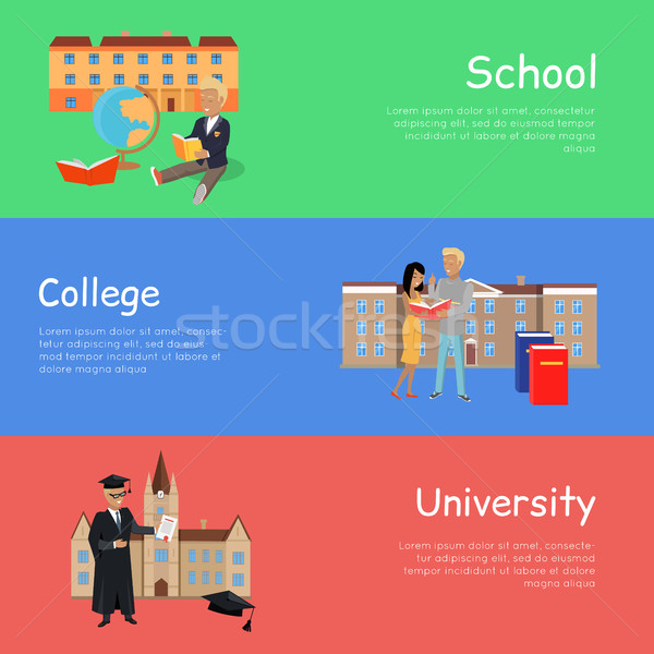 Set of Banners School College University. Vector Stock photo © robuart