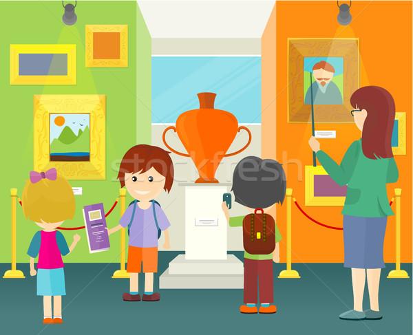 Dzieci muzeum mały chłopców dziewcząt szkoły Zdjęcia stock © robuart