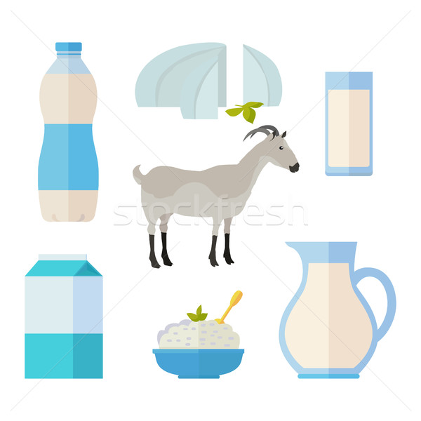 Set of Traditional Dairy Products from Milk Stock photo © robuart