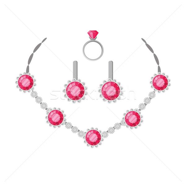 Joyas establecer collar anillo pendientes aislado Foto stock © robuart