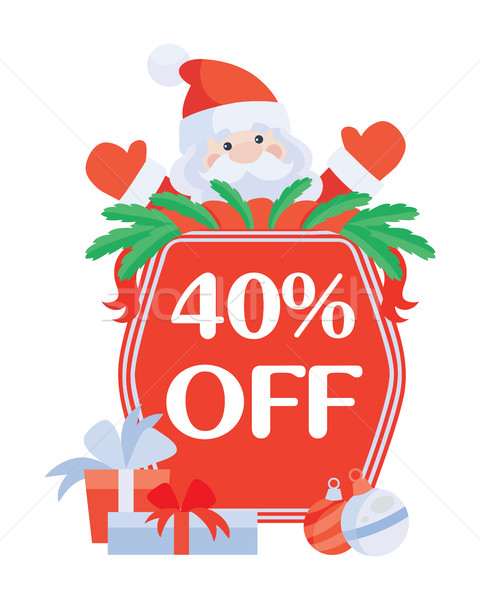 Christmas 40 Off Vector. Santa with Sale Poster Stock photo © robuart