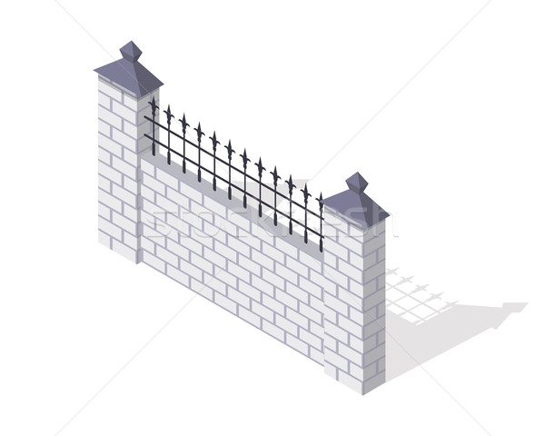 Tégla kerítés részleg vektor izometrikus vetítés Stock fotó © robuart