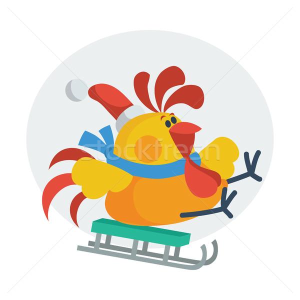 オンドリ 鳥 スケート そり コック サンタクロース ストックフォト © robuart