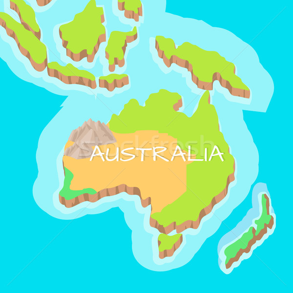 Australia vector Cartoon alivio mapa montanas Foto stock © robuart