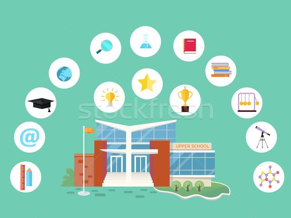 Szett iskola ikonok épület könyv eszközök Stock fotó © robuart