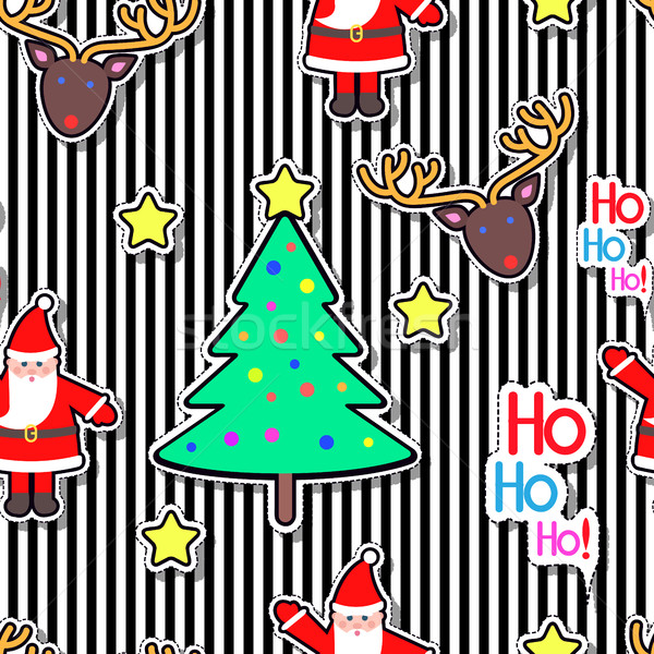 Santa Clause, Deer, Tree Star Seamless Pattern. Stock photo © robuart