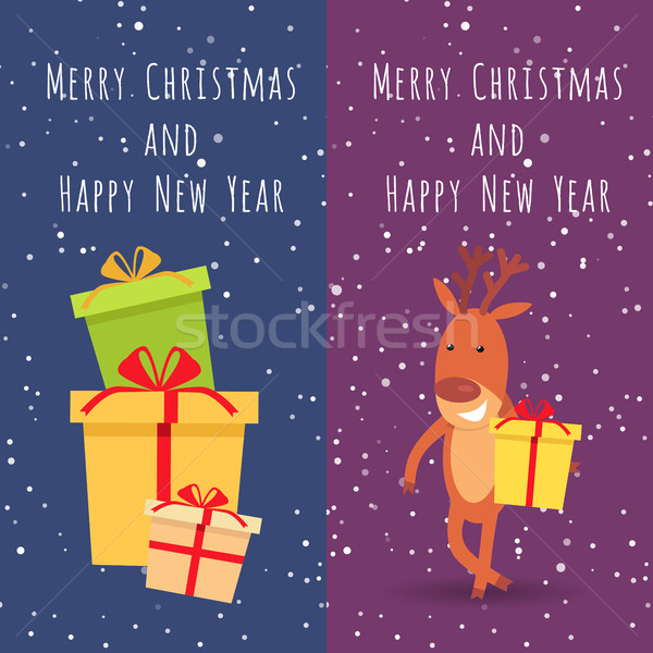 Merry Christmas and Happy New Year. Deer. Gifts Stock photo © robuart