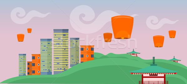 Asian Landscape with Modern and Ancient Buildings. Stock photo © robuart