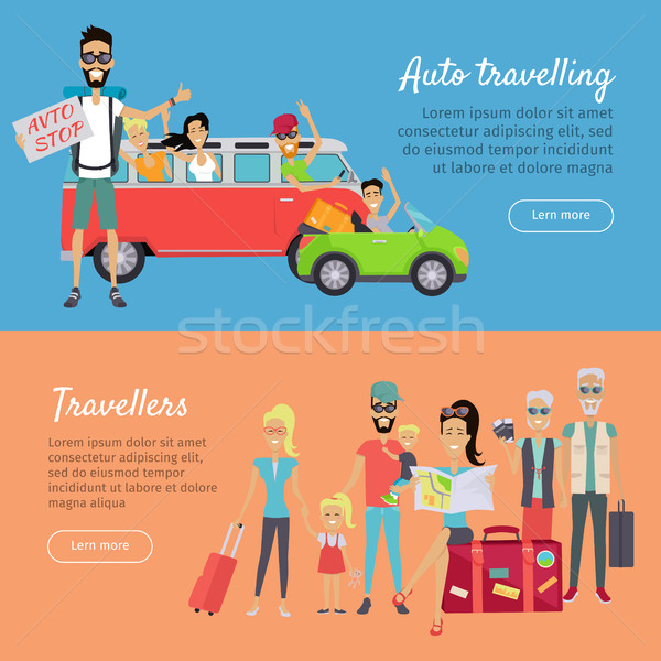 Auto Traveling and Travelers Banners Stock photo © robuart