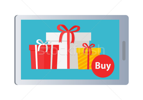 Showing of Buying Nice Colourful Presents Online Stock photo © robuart