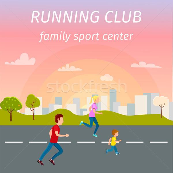 Család fut aszfalt út sport központ Stock fotó © robuart