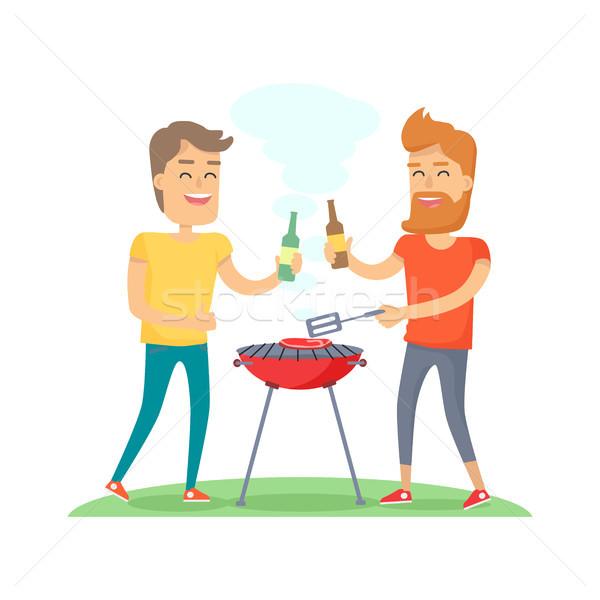 Dois homem frito carne churrasco amigos Foto stock © robuart