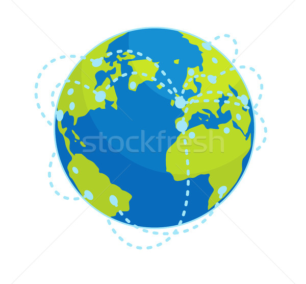 Earth Global Connections Flat Vector Concept Stock photo © robuart
