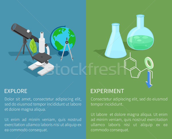 Explore and Experiment Template Vector Poster Stock photo © robuart