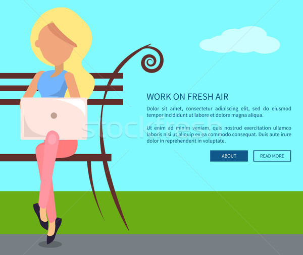 Work on Fresh Air Vector Banner Woman with Laptop Stock photo © robuart