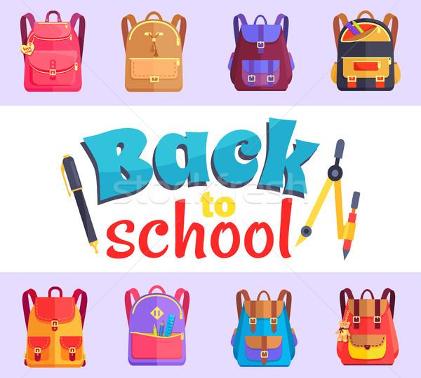 Atrás mi escuela Cartoon estilo etiqueta Foto stock © robuart