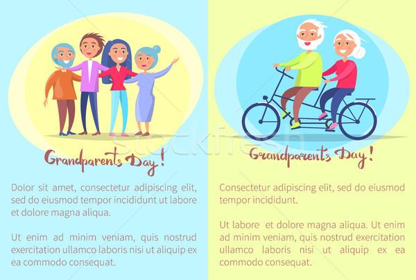 счастливым дедушка и бабушка день старший пары велосипедов Сток-фото © robuart