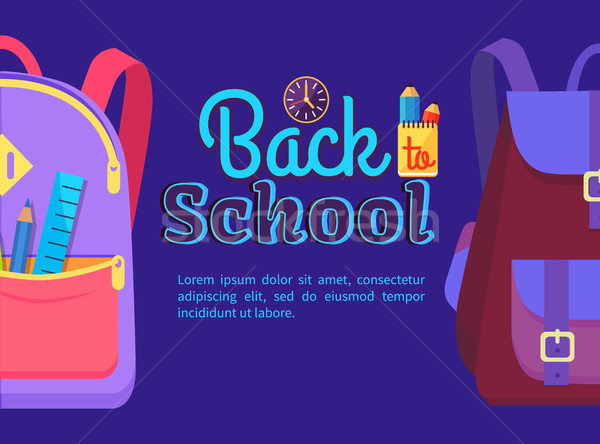 Back to School Poster with Schoolchild Rucksack Stock photo © robuart