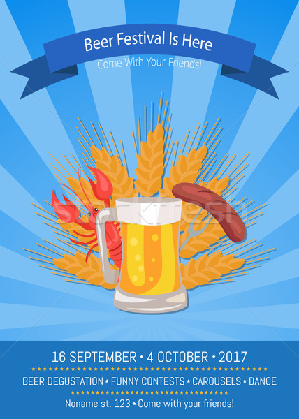Beer Festival is Here Vector Illustration on Blue Stock photo © robuart