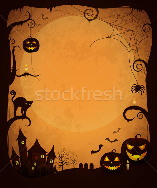 Scary Dark Halloween Poster with Spooky Objects Stock photo © robuart
