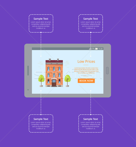 Booking Hotel Room via Internet Vector Poster Stock photo © robuart