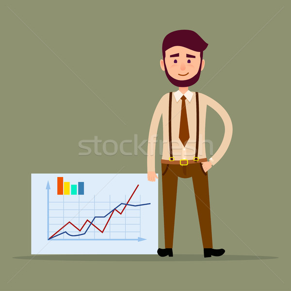 Young Manager Standing near Placard with Charts Stock photo © robuart