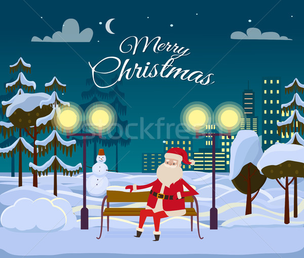 Merry Christmas from Santa Among White Snowy Field Stock photo © robuart