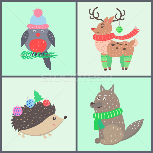 Animal Collection of Posters Vector Illustration Stock photo © robuart