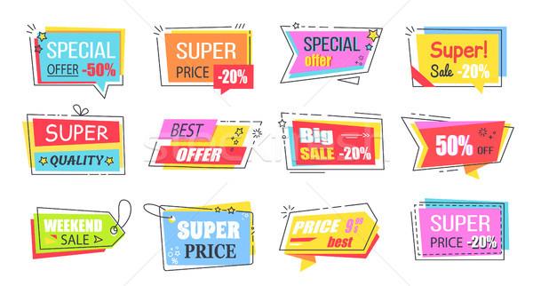 Szuper alacsony ár fényes promóciós szett Stock fotó © robuart