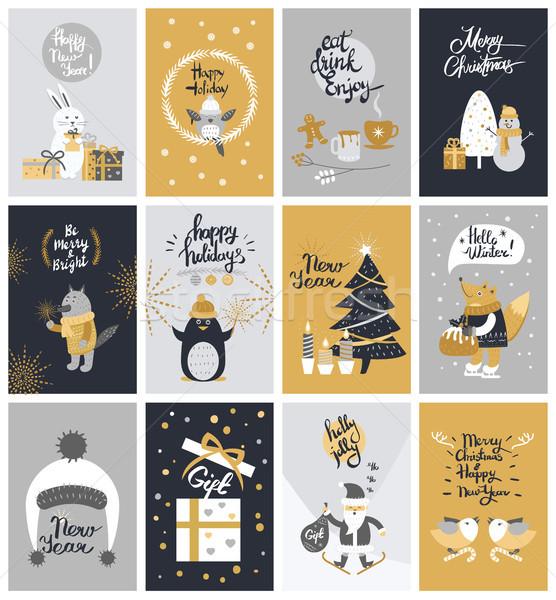 Coleção doze colorido natal fotos papai noel Foto stock © robuart