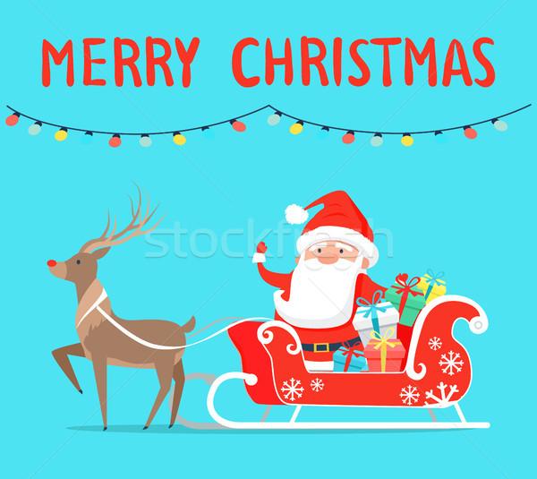 веселый Рождества северный олень сани представляет Сток-фото © robuart