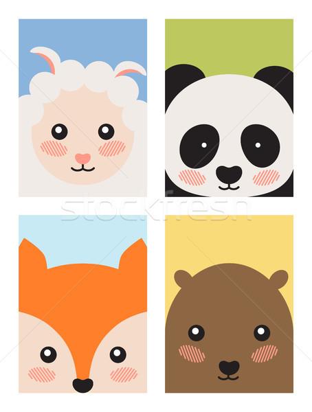 Sheep and Panda Fox and Bear Vector Illustration Stock photo © robuart