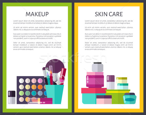 Makeup and Skin Care Cards Vector Illustration Stock photo © robuart