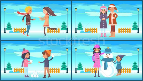 ストックフォト: 冬 · 公園 · 人 · セット · ポスター · カップル