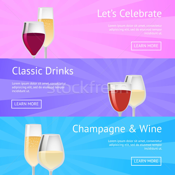Let s Celebrate Classic Drink Champagne Wine Icons Stock photo © robuart
