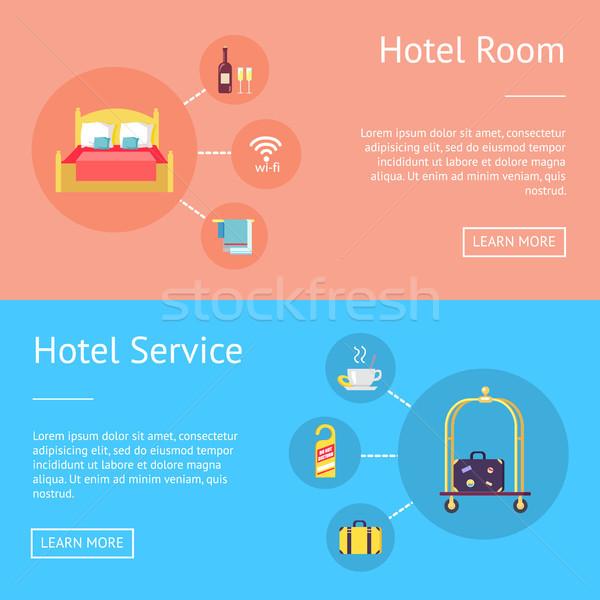 Quarto de hotel serviço conjunto publicidade banners cama Foto stock © robuart