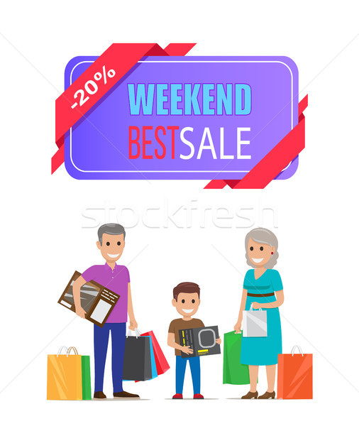 Fim de semana o melhor venda cartaz avós compras Foto stock © robuart