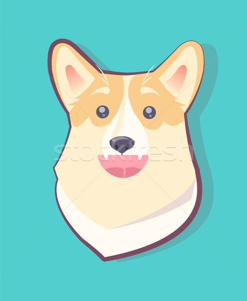 Hond emoticon gelukkig puppy Open mond Stockfoto © robuart