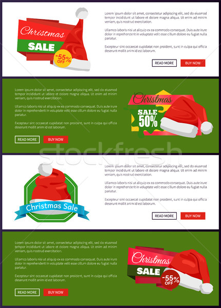 Set Christmas Theme Promo Posters Santa Claus Hats Stock photo © robuart