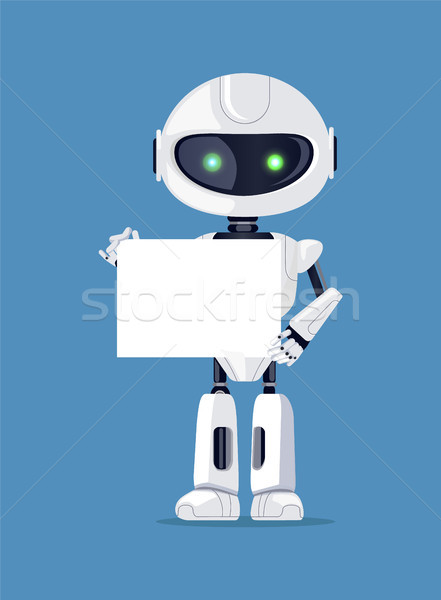 Robot Stands with Empty Paper Vector Illustration Stock photo © robuart